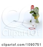 Clipart 3d Tortoise Circling Valentines Day On A Calendar Royalty Free CGI Illustration