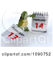 Clipart 3d Tortoise Changing A Calendar To Valentines Day February 14th Royalty Free CGI Illustration