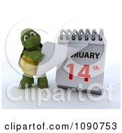 Clipart 3d Tortoise Changing A Desk Calendar To Valentines Day February 14th Royalty Free CGI Illustration