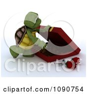 Clipart 3d Tortoise Opening A Box Of Valentines Day Chocolates Royalty Free CGI Illustration