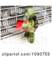 Clipart 3d Tortoise Filing Data In A Box Royalty Free CGI Illustration