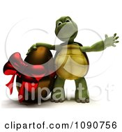 Clipart 3d Tortoise With A Chocolate Easter Egg Royalty Free CGI Illustration