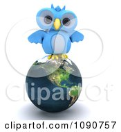 Clipart 3d Blue Owl Perched On Earth Royalty Free CGI Illustration by KJ Pargeter