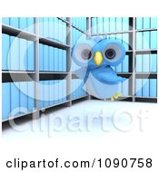 3d Blue Owl Flying In An Archive Room