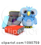 3d Blue Owl Standing By Books