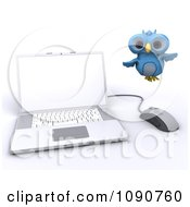 Clipart 3d Blue Owl Flying By A Laptop Royalty Free CGI Illustration by KJ Pargeter
