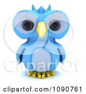 Clipart 3d Blue Owl Royalty Free CGI Illustration by KJ Pargeter