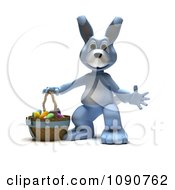 3d Blue Easter Bunny With A Basket Of Eggs
