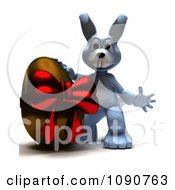 3d Blue Easter Bunny With A Chocolate Egg