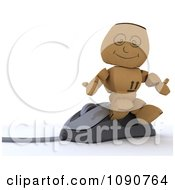 Clipart 3d Cardboard Box Man Sitting On A Computer Mouse Royalty Free CGI Illustration