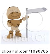 Clipart 3d Cardboard Box Man With A Street Sign Royalty Free CGI Illustration