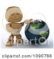 Clipart 3d Cardboard Box Man Presenting A Globe Royalty Free CGI Illustration
