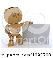 Clipart 3d Cardboard Box Man With A Blank Sign Royalty Free CGI Illustration