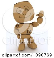 Clipart 3d Cardboard Box Man Waving Royalty Free CGI Illustration by KJ Pargeter