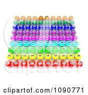 Clipart 3d Colorful Bingo Balls Lined Up In Color Coordinated Rows Royalty Free CGI Illustration by KJ Pargeter