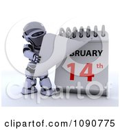 Clipart 3d Silver Robot Flipping A Desk Calendar To Valentines Day Royalty Free CGI Illustration