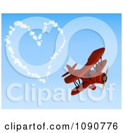 Clipart 3d Red Biplane Drawing A Valentine Heart In The Sky Royalty Free CGI Illustration