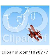 3d Red Biplane Drawing I Heart You In The Sky