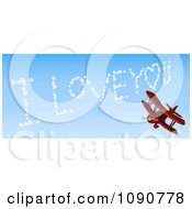 3d Red Biplane Drawing I Love You In The Sky
