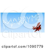 Clipart 3d Red Biplane Drawing Marry Me In The Sky Royalty Free CGI Illustration