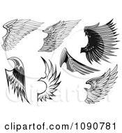 Clipart Black And White Feathered Wings Royalty Free Vector Illustration