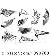 Clipart Black And White Wing Designs 1 Royalty Free Vector Illustration by Vector Tradition SM