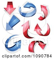 Clipart 3d Red And Blue Arrows And Shadows Royalty Free Vector Illustration