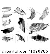 Clipart Black And White Wing Designs 2 Royalty Free Vector Illustration by Vector Tradition SM