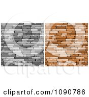 Clipart Grayscale And Brown Walls Of Stacked Stones Or Bricks Royalty Free Vector Illustration