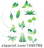 Clipart Green Leaf Icons 1 Royalty Free Vector Illustration by Vector Tradition SM