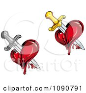 Clipart Bleeding Hearts Stabbed With Swords Royalty Free Vector Illustration