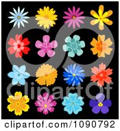 Clipart Colorful Flower Icons On Black 1 Royalty Free Vector Illustration