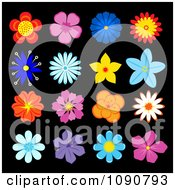 Clipart Colorful Flower Icons On Black 2 Royalty Free Vector Illustration