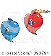 Clipart Blue And Red Hearts With Eyes And Flames Royalty Free Vector Illustration