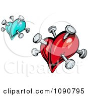 Clipart Blue And Red Hearts Stabbed With Pins Royalty Free Vector Illustration