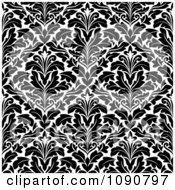 Clipart Black And White Triangular Damask Pattern Seamless Background 1 Royalty Free Vector Illustration