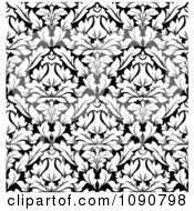 Clipart Black And White Triangular Damask Pattern Seamless Background 3 Royalty Free Vector Illustration