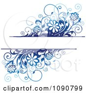 Clipart Text Box With Blue Daisy Flowers And Vines Royalty Free Vector Illustration