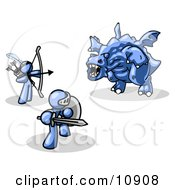 Two Blue Men Working Together To Conquer An Obstacle A Dragon