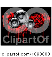 Clipart Silver Music Speakers Over Red Bloody Grunge Drops On Black Royalty Free Vector Illustration