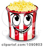 Clipart Happy Popcorn Bucket Character Licking His Lips Royalty Free Vector Illustration