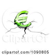 Clipart 3d Green Euro Symbol Crashing And Causing Fissures Royalty Free Vector Illustration