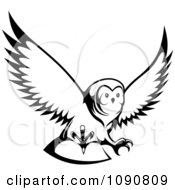 Clipart Black And White Hunting Owl Royalty Free Vector Illustration