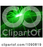Clipart Green Circuit Sun Rising Over A Binary Grid Globe Royalty Free CGI Illustration