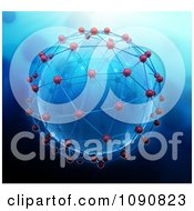 Clipart 3d Blue Globe Engulfed In Network Connections Royalty Free CGI Illustration