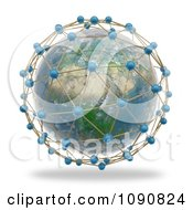 3d African Globe Surrounded By World Network Connections
