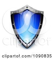 Clipart 3d Steel And Blue Security Shield Royalty Free Vector Illustration
