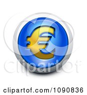 3d Blue Gold And Silver Euro Icon Button