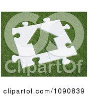Clipart 3d White House Puzzle On Green Grass Royalty Free CGI Illustration