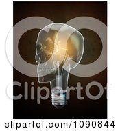 Clipart 3d Glowing Lightbulb Skull Over Brown Royalty Free CGI Illustration